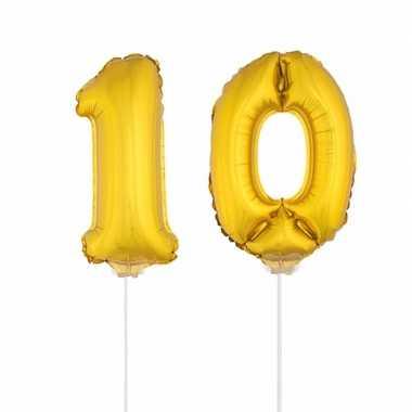Gouden opblaascijfer 10 op stokjes