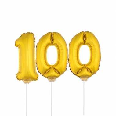Gouden opblaascijfer 100 op stokjes