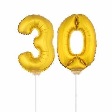 Gouden opblaascijfer 30 op stokjes
