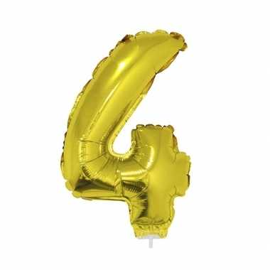 Gouden opblaascijfer 4 op stokje 41 cm