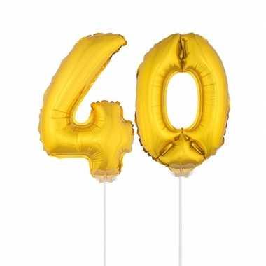 Gouden opblaascijfer 40 op stokjes