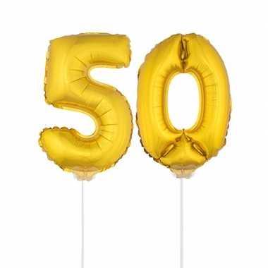 Gouden opblaascijfer 50 op stokjes