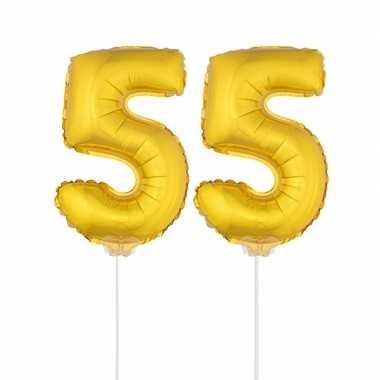 Gouden opblaascijfer 55 op stokjes