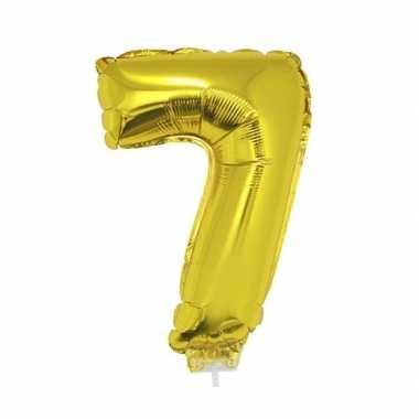 Gouden opblaascijfer 7 op stokje 41 cm