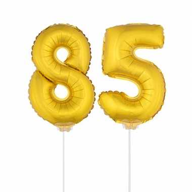Gouden opblaascijfer 85 op stokjes