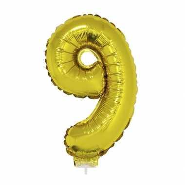 Gouden opblaascijfer 9 op stokje 41 cm