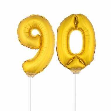 Gouden opblaascijfer 90 op stokjes