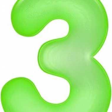 Opblaas cijfer 3 groen