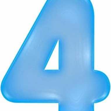 Opblaascijfer 4 blauw