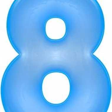 Opblaascijfer 8 blauw