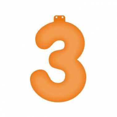 Oranje opblaascijfer 3
