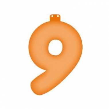 Oranje opblaascijfer 9
