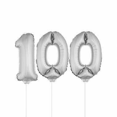Zilveren opblaascijfer 100 op stokjes