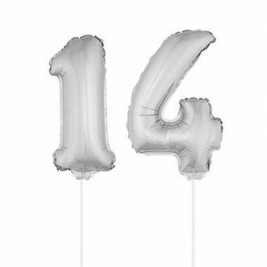 Zilveren opblaascijfer 14 op stokjes