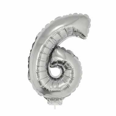 Zilveren opblaascijfer 6 op stokje 41 cm