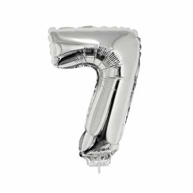 Zilveren opblaascijfer 7 op stokje 41 cm