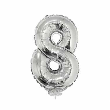 Zilveren opblaascijfer 8 op stokje 41 cm
